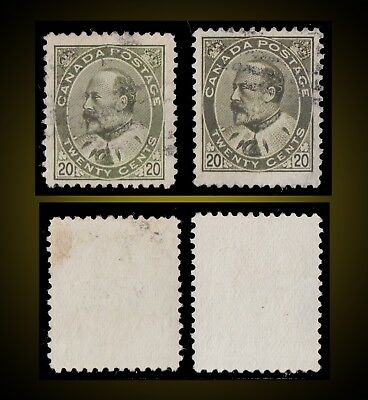 1904 CANADA Canada USED 2 X 20C KING EDWARD VII LIGHT USED  SCT. 94 SG 186