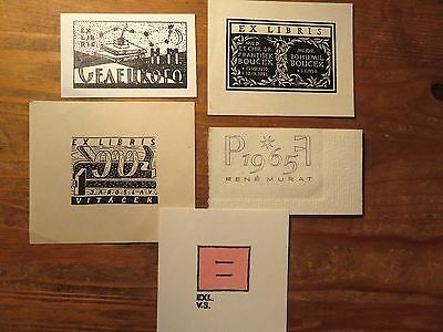 Vintage Ex Libris/PF Cards/  Graphic Arts   Lot,5 Pieces