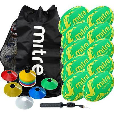Mitre Rugby Coaching Pack Size 3 including 10 Balls, Space Marker Cones and Pump