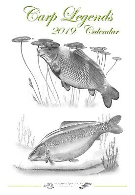2018 CARP LEGENDS Fishing Calendar Art by Robin Woolnough Handmade Unique NEW
