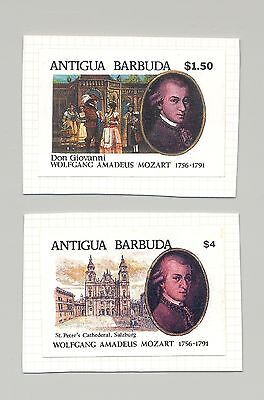 Antigua #1493-1494 Mozart, Composer, Music 2v Imperf Proofs on Cards