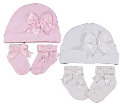 Baby BOW socks hat set girl sparkle beanie gift PINK WHITE