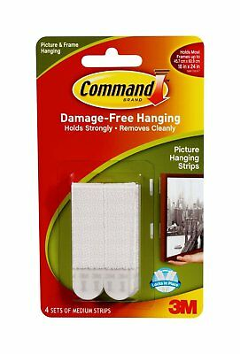 3M Command Medium Adhesive Picture Poster Hanging Strips Damage Free Wall 17201