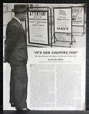 1940 It's Our Country Too Black Men Want Right to Fight for America Walter White