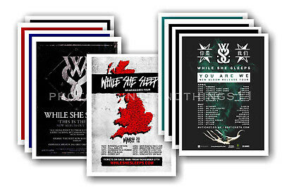 WHILE SHE SLEEPS - 10 promotional posters  collectable postcard set # 1