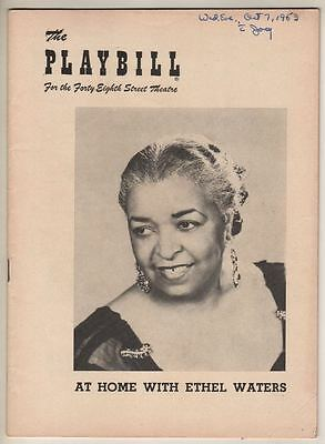 """""""At Home With Ethel Waters""""  Playbill 1953  Broadway"""