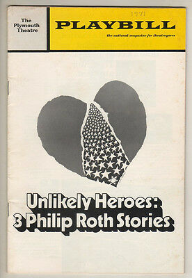 """""""Unlikely Heroes: 3 Philip Roth Stories"""" Playbill Opening Night 1971 FLOP"""