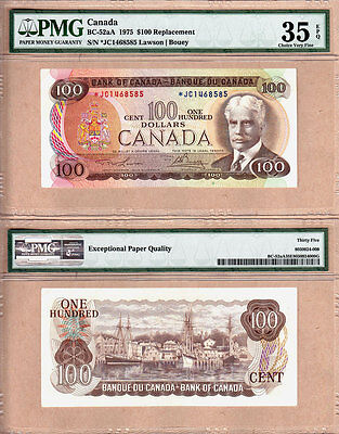 Scarce 1975 $100 *JC Replacement Bank of Canada Note Lawson/Bouey PMG CHVF35 EPQ