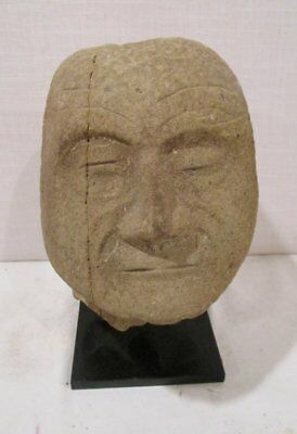 ANTIQUE  PRE-COLUMBIAN HUASTEC OR Diquis CARVED Stone Trophy Head 500 to 1000 AD
