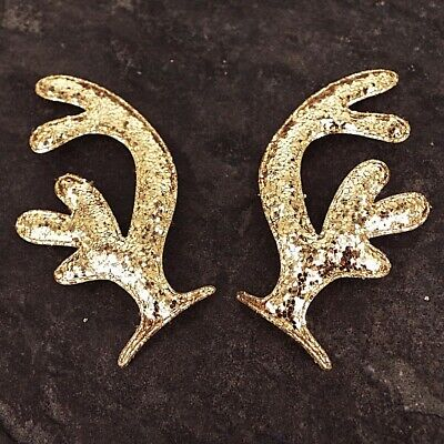 Reindeer Antlers, Gold Shiny Sequin Christmas slightly padded , 5 pairs W22