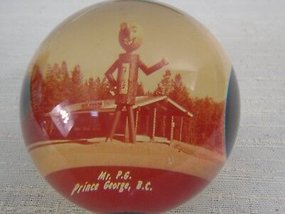 Vintage Acrylic Paperweight Mr P.G. Prince George BC British Columbia Giant Logs