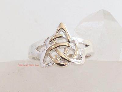 Celtic TOE RING or MIDI Triquetra Knots Sterling Silver adjustable pagan wicca