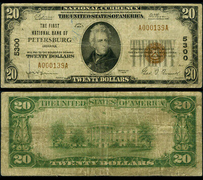 Petersburg IN $20 1929 Ty 1 National Bank Note Ch #5300 First NB Very Good+