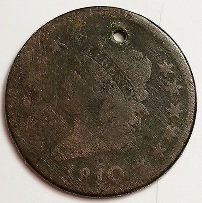 1810 Large Cent.  Good Detail.  Holed.  107382