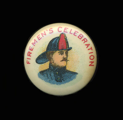 Early 20th C Color Lithographed Tin Firemen's Celebration Pinback