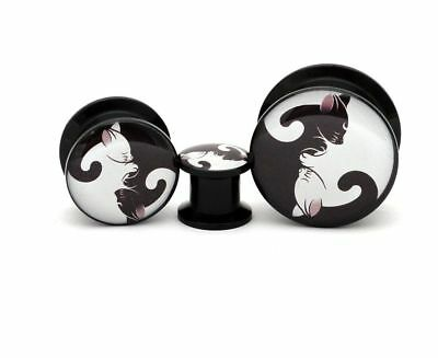Pair of Black Acrylic Cat Yin Yang Picture Plugs gauges 8g through 1 inch