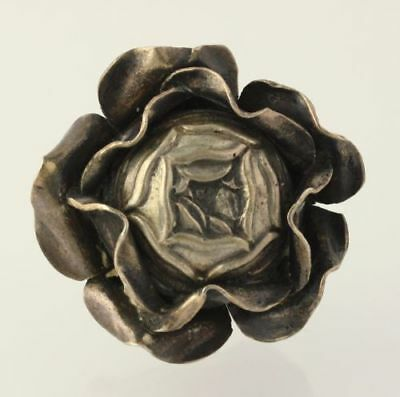 Rose Knob/Pull - Silver Toned Collectible Estate Cabinet Handle