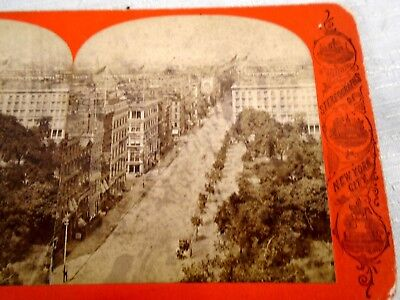 Antique Stereoview Card View Up Broadway St New Post Office America Illustrated