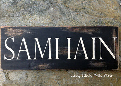 SAMHAIN Decor Sabbat Handpainted Sign Halloween Wicca Pagan Witchy Black