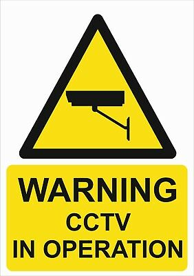 Warning Cctv In Operation A5/A4/A3 Sticker Or Foamex Health & Safety Signs