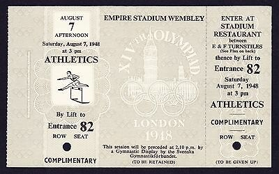1948 London Olympics Athletics 7th August UNUSED Ticket - Marathon, Relay Finals