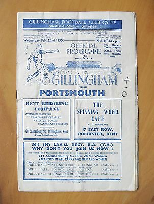 GILLINGHAM v PORTSMOUTH Friendly 1949/1950 *Good Condition Football Programme*