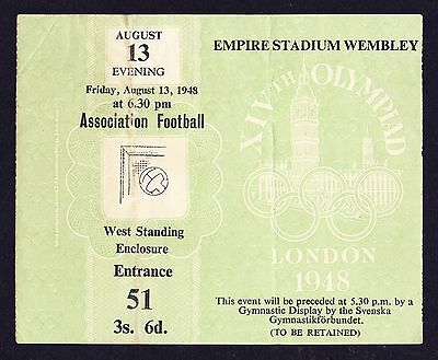 1948 London Olympics Football 13th August Final SWEDEN v YUGOSLAVIA Ticket *VGC*