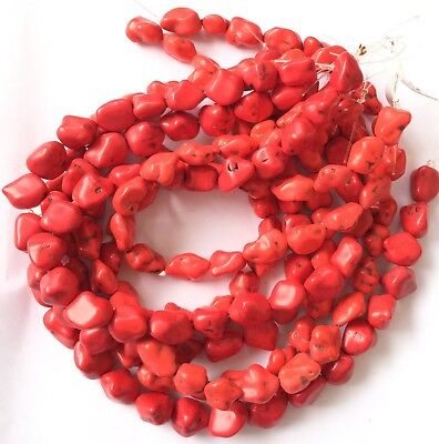A Strands of Red Turquoise Nugget Gemstone Beads