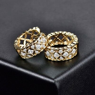 18K Gold Filled CZ Crystal Women Small Hoop Fashion Wedding Celtic Knot Earrings