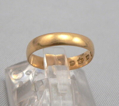 c1878 Antique 22K Yellow GOLD 3.7mm Wide Wedding Ring Band ENGLISH Hallmarks 2g