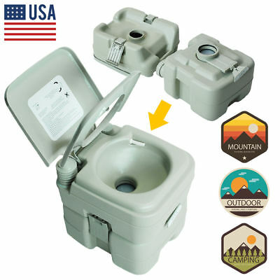 5.3 Gallon 20L Portable Toilet Flush Travel Camping Outdoor/Indoor Potty Commode