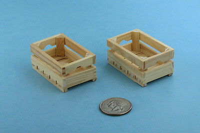 Pair of 2 Dollhouse Miniature 1:12 Scale Wooden Fruit/Vegetable Crates #SD1753