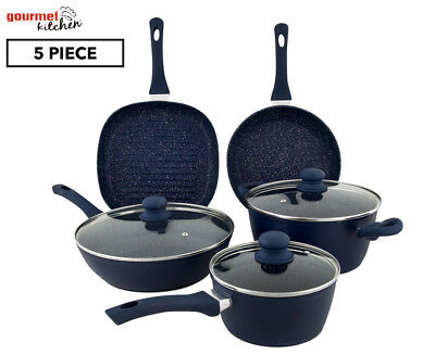 Gourmet Kitchen 5-Piece Forged Cookware Set w/ Marble Coating