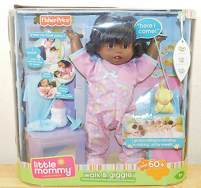 NEW Little Mommy Interactive Baby Walk & Giggle Brunette Doll Fisher price NEW