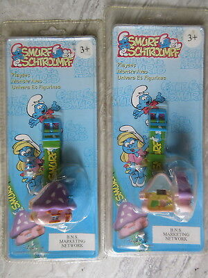 Two 1996 Smurfs Digital Playhouse Wristwatches MIP