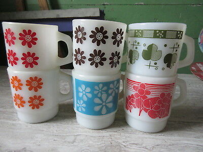 6 Vintage Milk Glass Anchor Hocking Floral Designs Coffee Mugs
