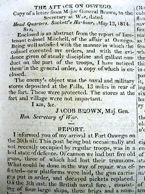 1814 War of 1812 newspaper British forces attack FORT OSWEGO at LAKE ONTARIO NY
