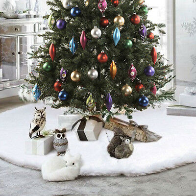 78CM White Christmas Tree Skirt Stand Apron Base Mat Ornaments Party Home Decor