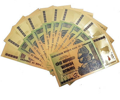 10 Pcs Zimbabwe 100 Trillion Gold Banknote Plated Pure 24K Coloured (ZM1CLR10)
