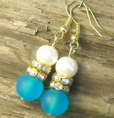 """FREE SHIP Turquoise Blue Frosted Glass Pearl Crystal Pierced Earrings 1.8"""" Long"""