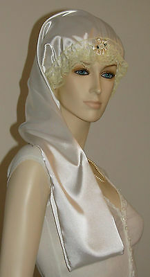 Hair Bonnet White Satin or Night Sleep Cap - Adult Size for Long Hair
