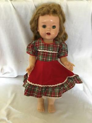 "SAUCY WALKER Ideal DOLL 16"" high w 2 + outfits 1950s she cries! Sleep Eyes"