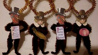 4 Vintage Style THANKSGIVING  Chenille Ornaments  Pilgrim Turkey