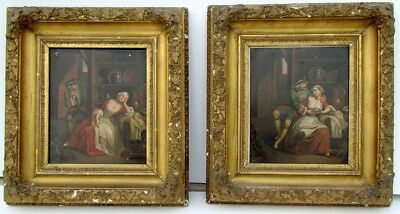 PAIR OF ANTIQUE 19th CENTURY FRAMED PAINTINGS on TIN - ROMANTIC SCENES