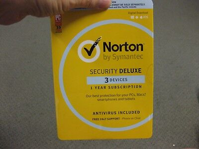 Norton Security Deluxe 3 Computer Version With Pack And Disk. New !!