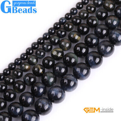 "Blue Tiger's Eye Gemstone Round Beads For Jewelry Making Free Shipping 15""Strand"