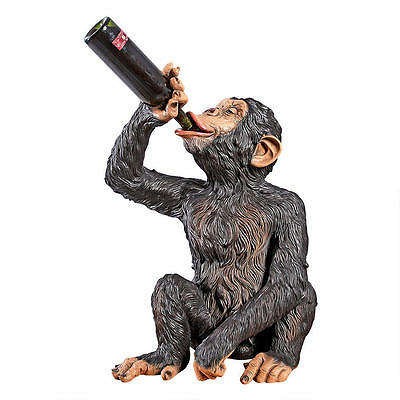 Realistic Drinking Chimp Monkey Bottle Holder Primate Grand Scale Sculpture 27""