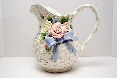 Fitz & Floyd Basketweave Floral w/ bow 1990 2 Qt. Pitcher or Jug, MINT!
