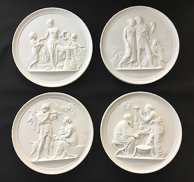 Royal Copenhagen White Bisque Plaques ~ Four Seasons of Man ~ Thorvaldsen