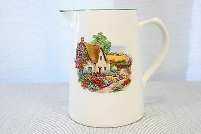 "Lord Nelson Ware Jug, Pitcher Thatched Country Cottage Green Trim 6 1/4"" England"
